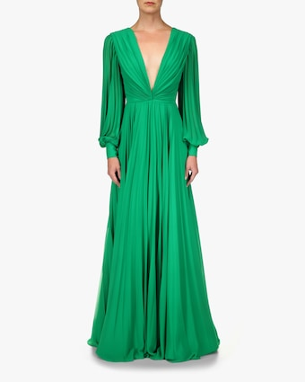 Badgley Mischka Long-Sleeve V-Neck Gown 1