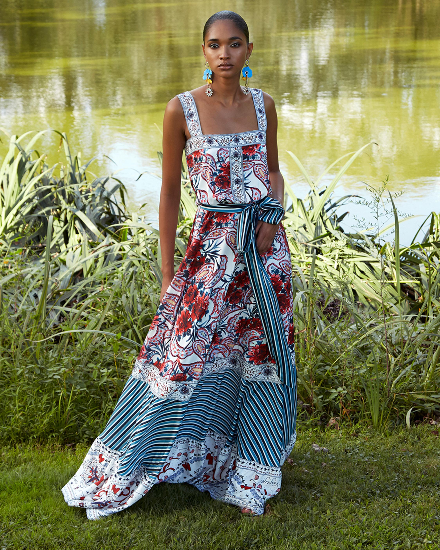Badgley Mischka Floral Ruffle-Bottom Dress 2