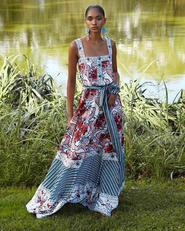 Badgley Mischka Floral Ruffle-Bottom Dress 1