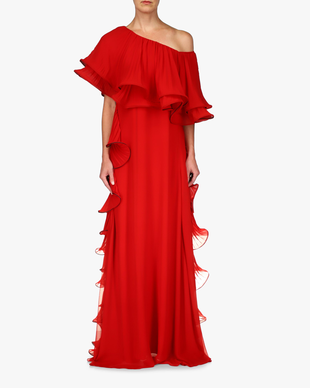 Badgley Mischka Ruffled One-Shoulder Gown 0