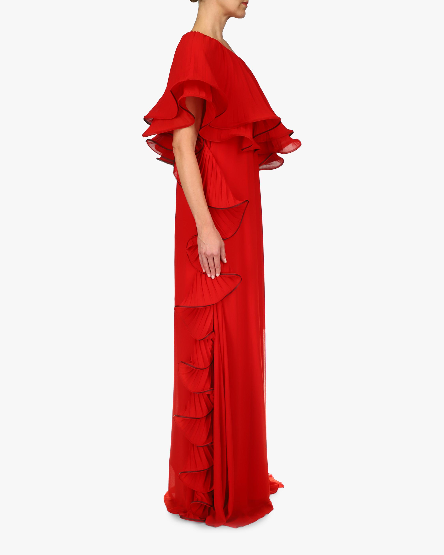 Badgley Mischka Ruffled One-Shoulder Gown 1