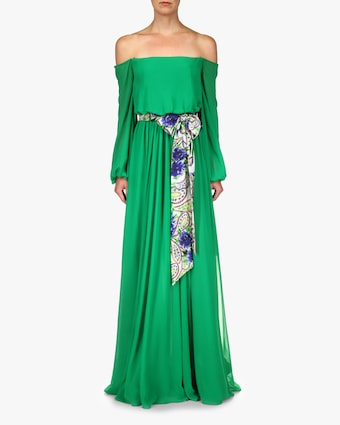 Badgley Mischka Sash-Tie Off-Shoulder Dress 1