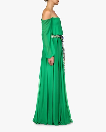 Badgley Mischka Sash-Tie Off-Shoulder Dress 2
