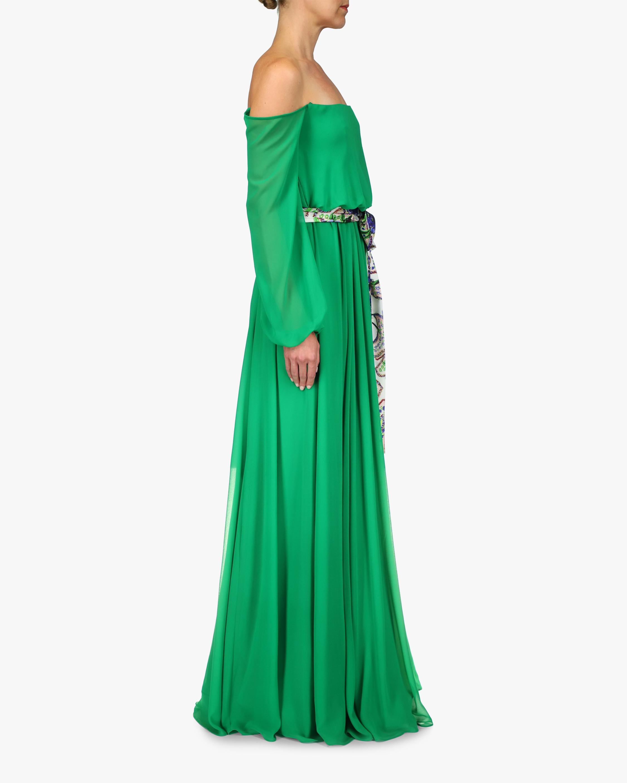 Badgley Mischka Sash-Tie Off-Shoulder Dress 1