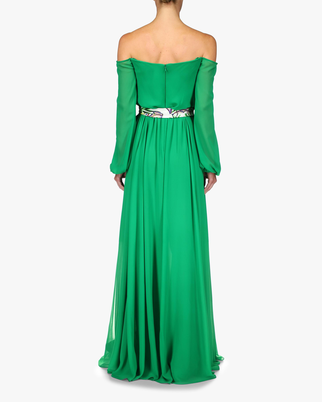 Badgley Mischka Sash-Tie Off-Shoulder Dress 2