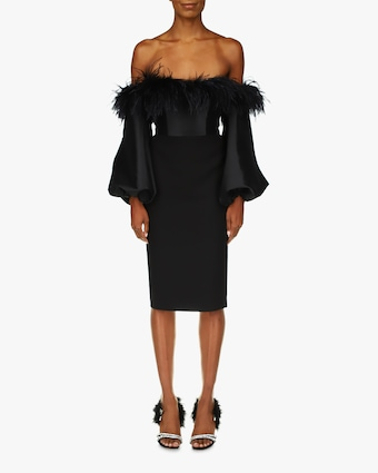Badgley Mischka Feather Off-Shoulder Cocktail Dress 1