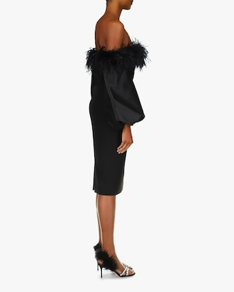 Badgley Mischka Feather Off-Shoulder Cocktail Dress 2