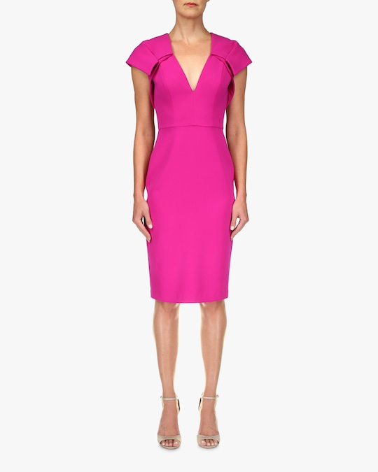 Badgley Mischka Odessa V-Neck Cocktail Dress 0