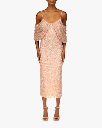 Badgley Mischka Beaded Drape-Shoulder Cocktail Dress 1