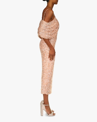 Badgley Mischka Beaded Drape-Shoulder Cocktail Dress 2