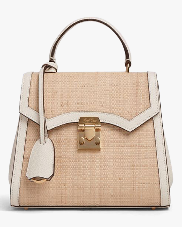 Mark Cross Madeline Mini Lady Raffia & Leather Top Handle Bag 0