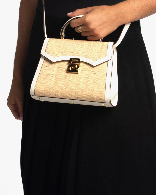Mark Cross Madeline Mini Lady Raffia & Leather Top Handle Bag 1