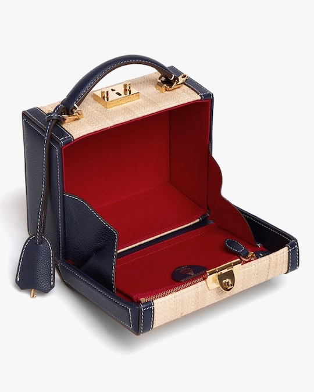 Mark Cross Grace Small Raffia & Leather Box Bag 1