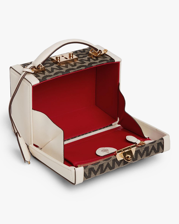 Mark Cross Grace Small MC Jacquard & Leather Box Bag 1