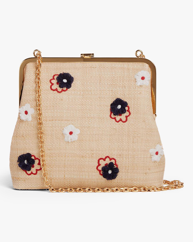 Mark Cross Susanna Raffia & Leather Frame Pouch Bag 0