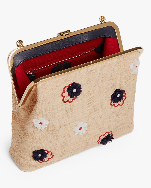 Mark Cross Susanna Raffia & Leather Frame Pouch Bag 3