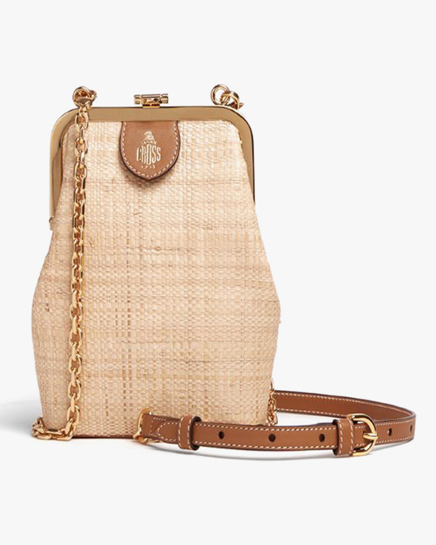 Mark Cross Susanna Crossbody Raffia & Leather Frame Pouch Bag 0