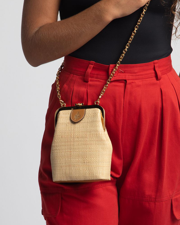 Mark Cross Susanna Crossbody Raffia & Leather Frame Pouch Bag 1