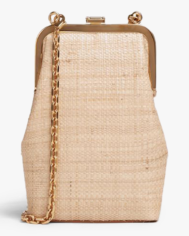 Mark Cross Susanna Crossbody Raffia & Leather Frame Pouch Bag 3