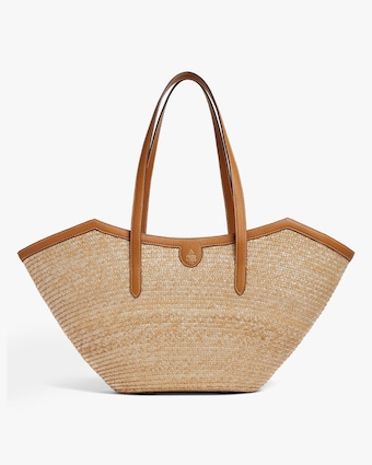 Mark Cross Madeline Large Straw & Leather Basket Bag 1