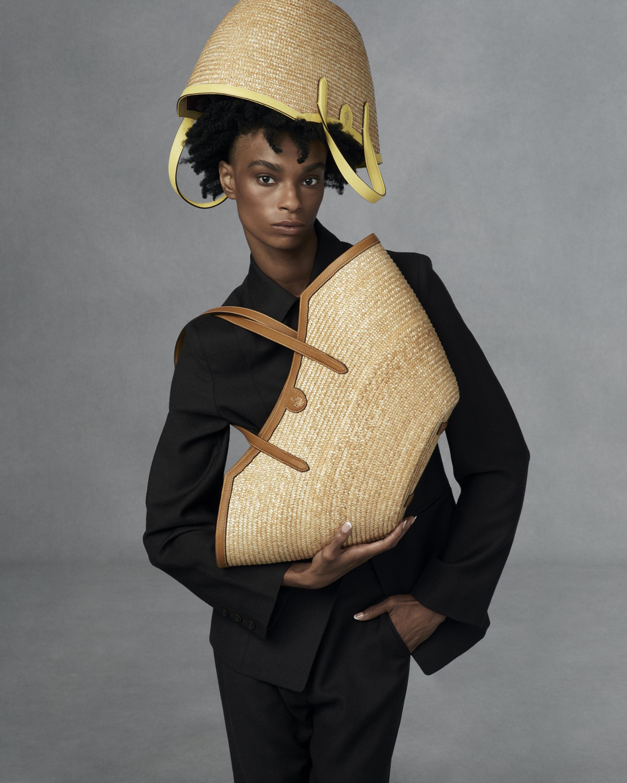 Mark Cross Madeline Large Straw & Leather Basket Bag 1