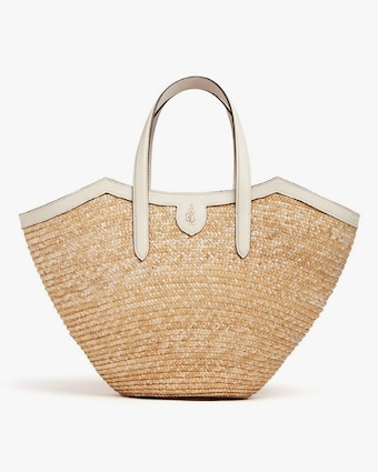 Mark Cross Madeline Straw & Leather Basket Bag 1