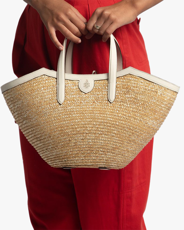 Mark Cross Madeline Straw & Leather Basket Bag 1