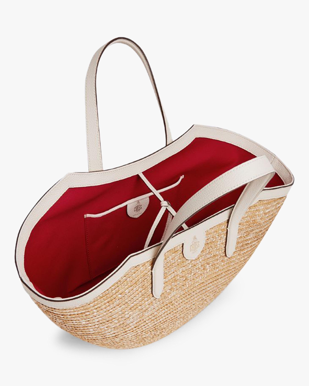 Mark Cross Madeline Straw & Leather Basket Bag 2