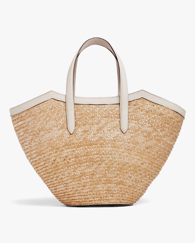 Mark Cross Madeline Straw & Leather Basket Bag 3