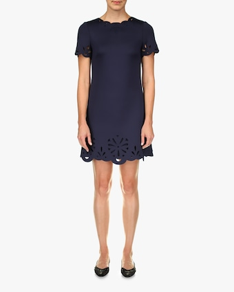 Badgley Mischka Scuba Floral-Trim Mini Dress 1
