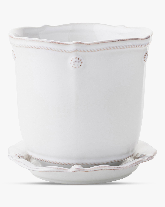 Juliska Berry & Thread Whitewash Planter & Saucer - 5.25in 1