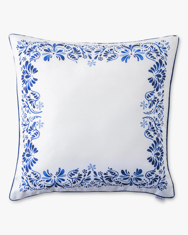 Iberian Journey Indigo Border Throw Pillow