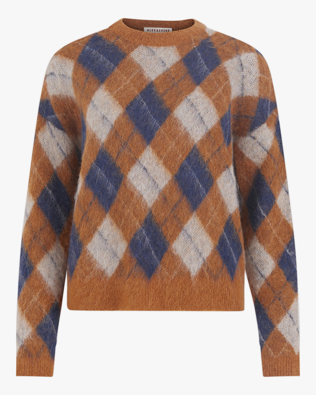 ALEXACHUNG Brushed Argyle Sweater 2