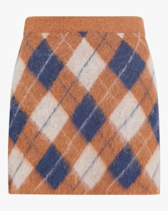 ALEXACHUNG Brushed Argyle Skirt 2