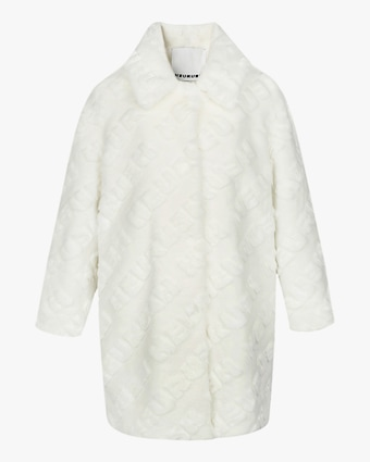 HEURUEH Logo High-Low Faux Fur Coat 1