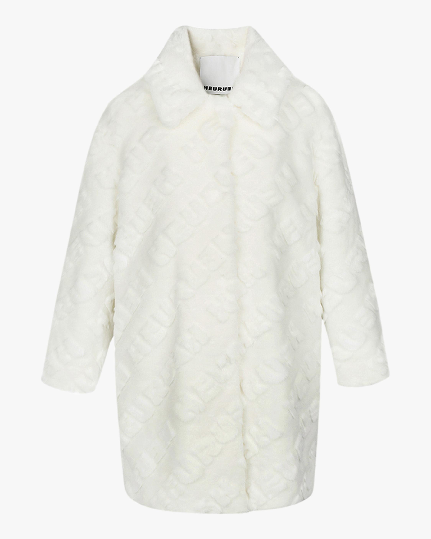 HEURUEH Logo High-Low Faux Fur Coat 1