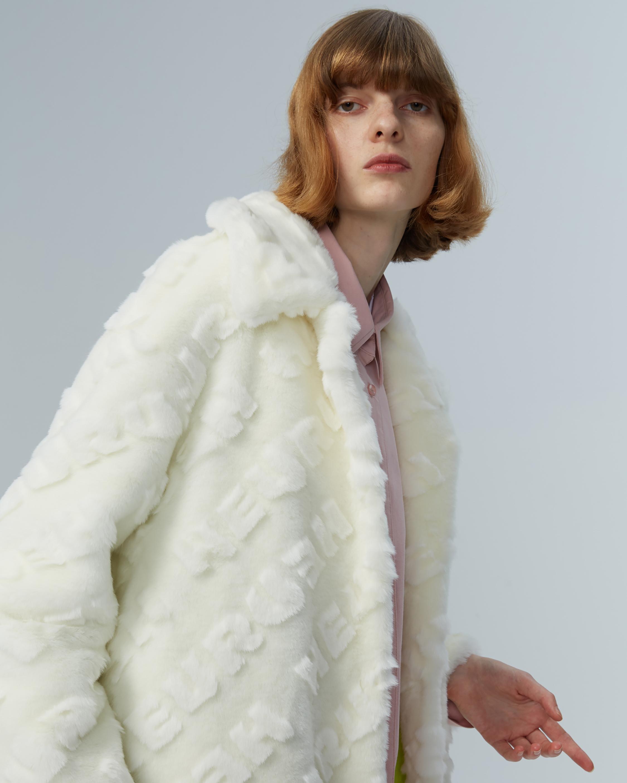 HEURUEH Logo High-Low Faux Fur Coat 2