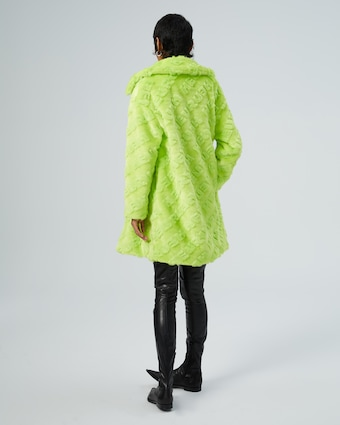 HEURUEH Logo High-Low Faux Fur Coat 2