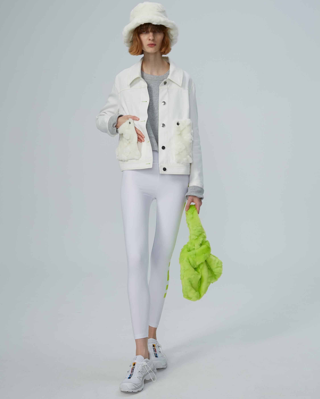 HEURUEH Faux Fur Pocket Denim Jacket 0