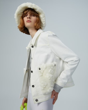 HEURUEH Faux Fur Pocket Denim Jacket 2