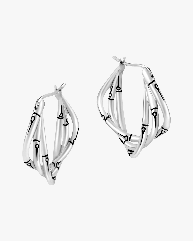 Bamboo Silver Hoop Earrings