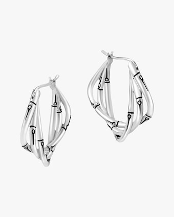 John Hardy Bamboo Silver Hoop Earrings 1