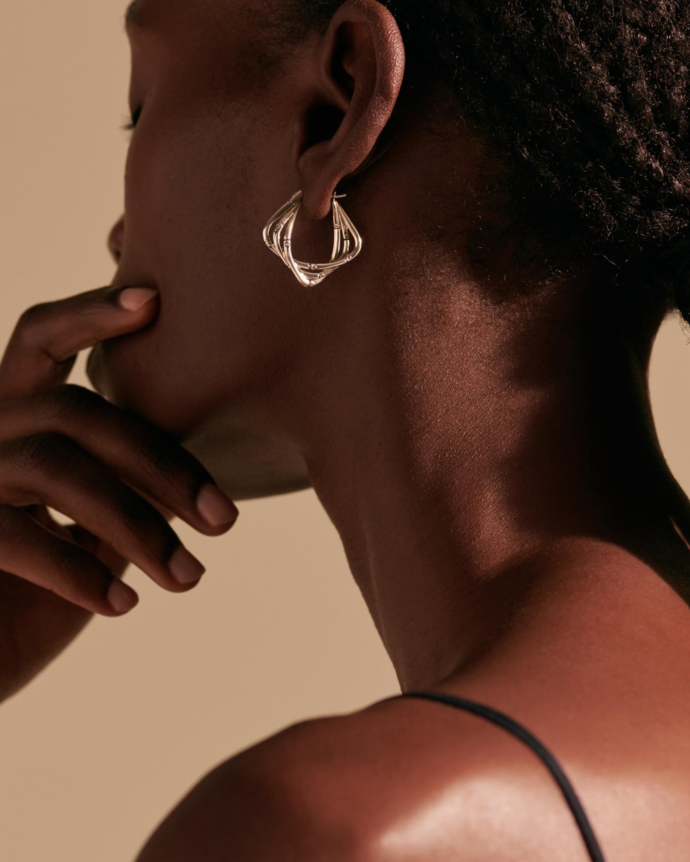 John Hardy Bamboo Silver Hoop Earrings 1
