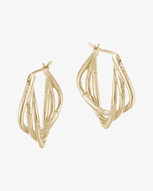 John Hardy Bamboo 18K Gold Hoop Earrings 1
