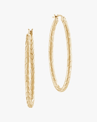 John Hardy Classic Chain 18K Gold 41mm Hoop Earrings 1