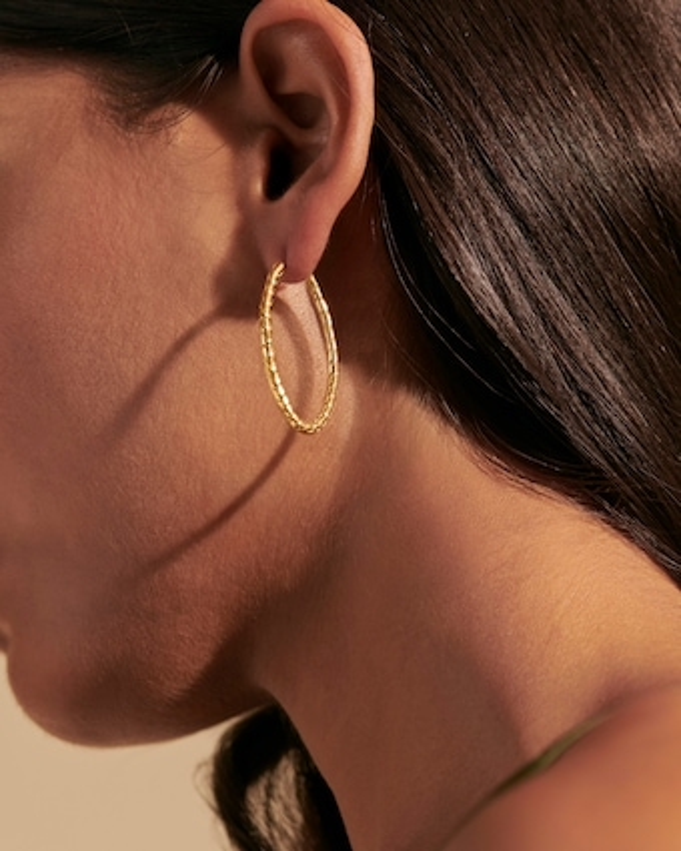 John Hardy Classic Chain 18K Gold 41mm Hoop Earrings 2