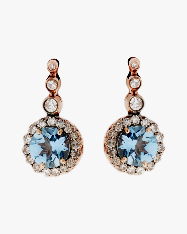 Selim Mouzannar Diamond & Aquamarine Drop Earrings 0