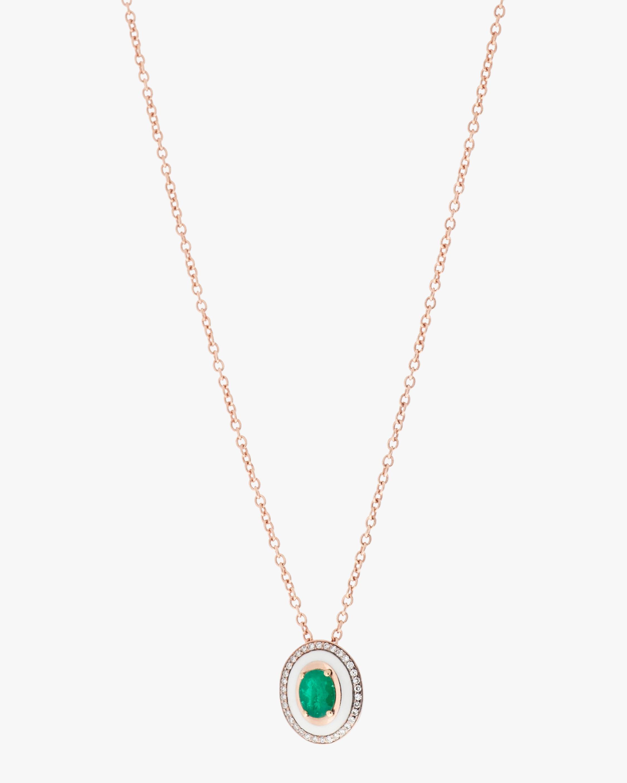 Selim Mouzannar Diamond & Emerald Pendant Necklace 0