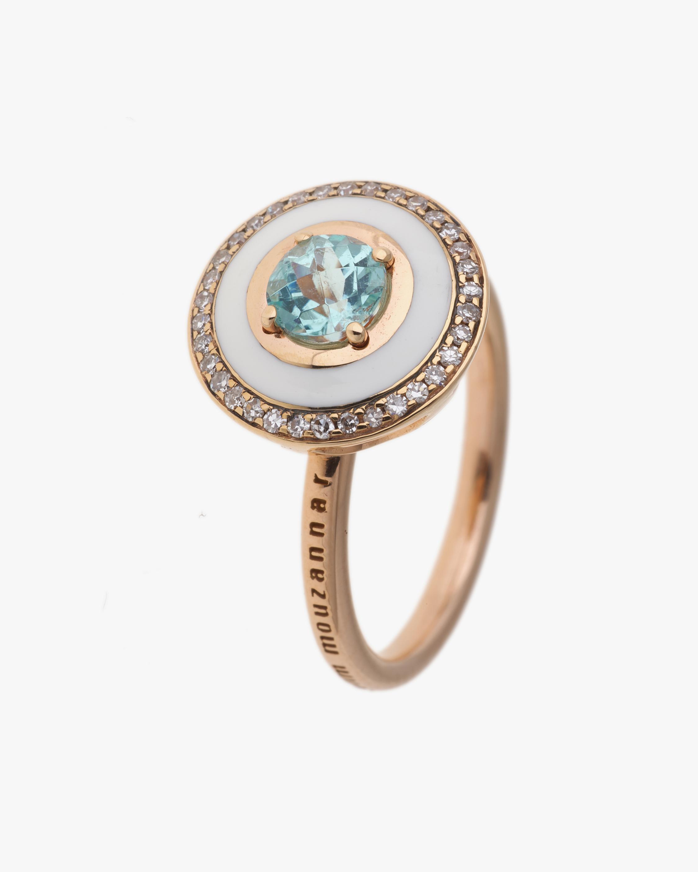 Selim Mouzannar Rose Gold Ring w/ Ivory Enamel Diamond & Paraiba Tourmaline 0