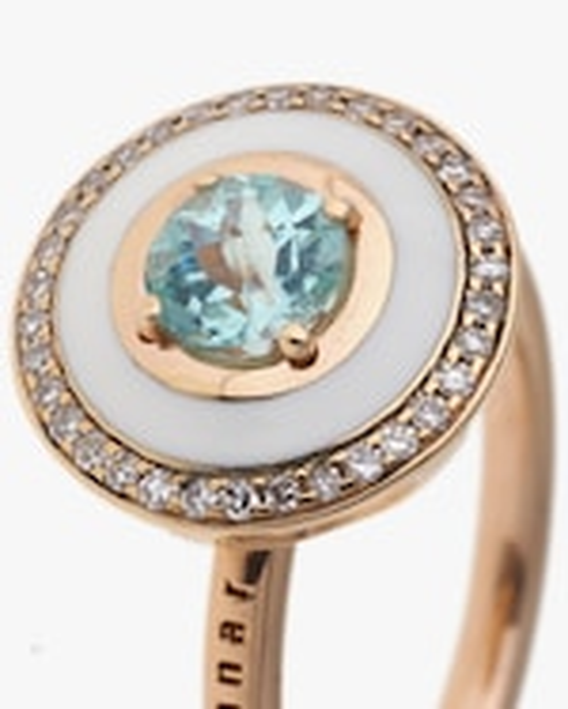 Selim Mouzannar Rose Gold Ring w/ Ivory Enamel Diamond & Paraiba Tourmaline 1